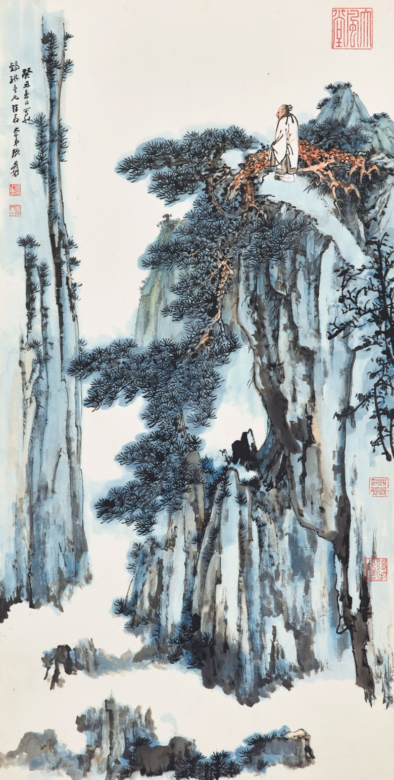 Zhang Daqian (1899-1983), Scholar on the Mountain, 1973. 138 x 70 cm (54⅜ x 27 ½ in). Estimate HK$5,500,000-6,500,000. Offered in Fine Chinese Modern Paintings on 29 May at Christie's Hong Kong