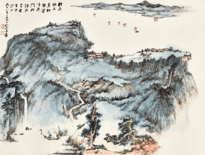 Zhang Daqian (1899-1983) Pine Cliffs and Misty Waves, 1979. 69 x 91 cm (27⅛ x 35⅞ in). Estimate HK$3,500,000-4,500,000. Offered in Fine Chinese Modern Paintings on 29 May at Christie's Hong Kong