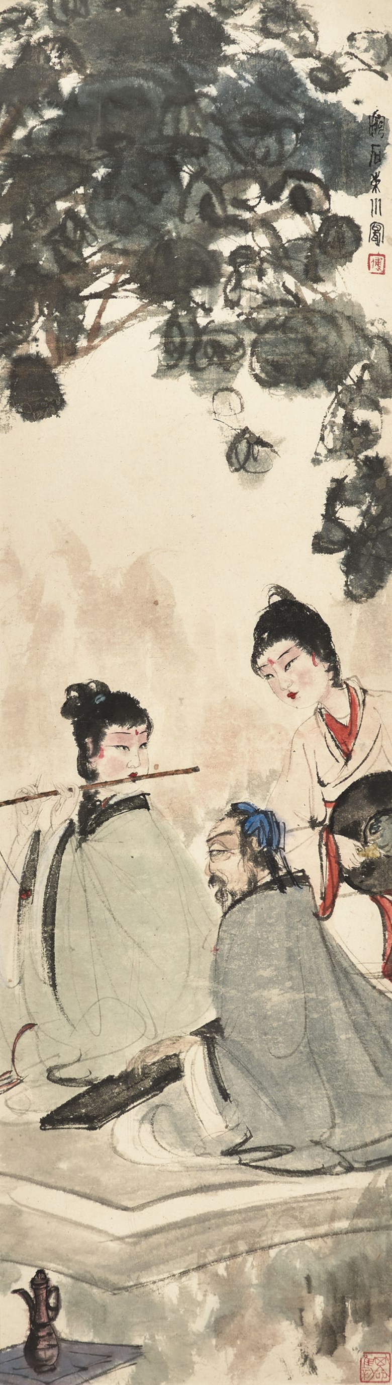 Fu Baoshi (1904-1965), Playing Flute in Dongshan. 103.3 x 29  cm (40⅝ x 11⅜  in). Estimate HK$26,000,000-35,000,000. Offered in Fine Chinese Modern Paintings on 29 May at Christie's in Hong Kong