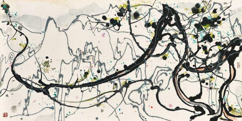 Wu Guanzhong (1919-2010), Pine and Rock. 69 x 136.7  cm (27⅛ x 53⅞  in). Estimate HK$3,200,000-4,200,000. Offered in Fine Chinese Modern Paintings on 29 May at Christie's in Hong Kong