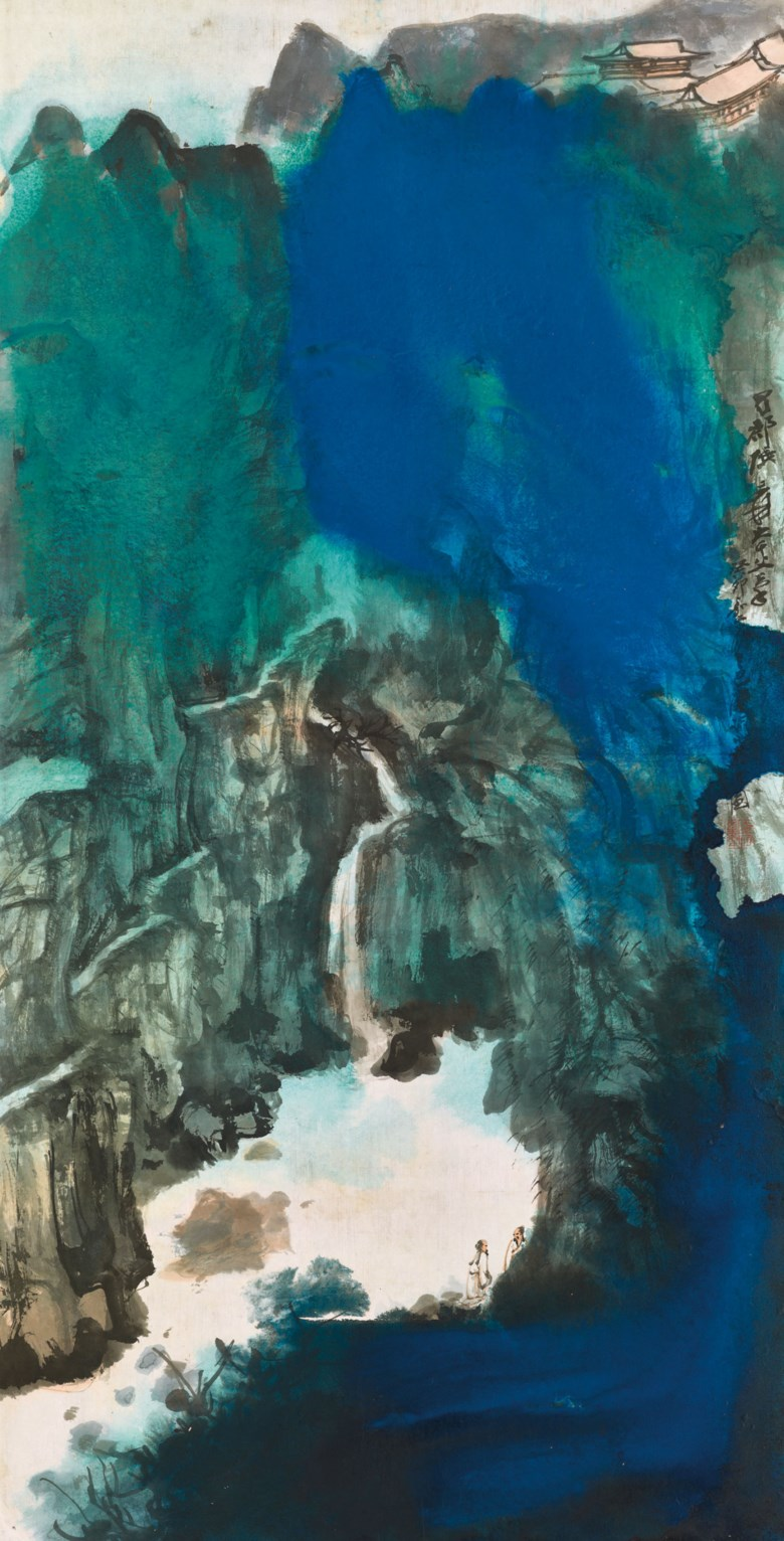 Zhang Daqian (1899-1983) Viewing the Waterfall, 1963. 134 x 68  cm (52¾ x 26¾  in). Sold for HK$64,225,000 in Fine Chinese Modern Paintings on 29 May 2018 at Christie's Hong Kong