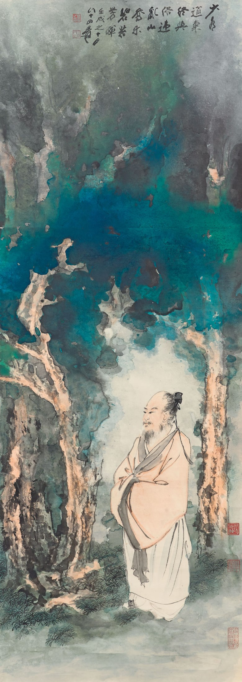 Zhang Daqian (1899-1983) Lofty Scholar by Lush Trees, 1982. 177 x 61  cm (69⅝ x 24  in). Sold for HKD 21,700,000 in Fine Chinese Modern Paintings on 29 May 2018 at Christie's Hong Kong