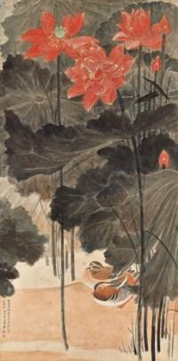 Red Lotus and Mandarin Ducks