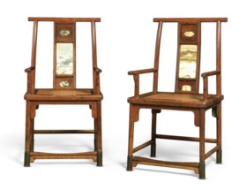A VERY RARE PAIR OF DALI-MARBLE-INSET HUANGHUALI ARMCHAIRS,