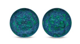 A PAIR OF LARGE GREEN-ENAMELLED AND UNDERGLAZE-BLUE 'DRAGON'