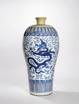 A MASSIVE BLUE AND WHITE 'DRAGON' MEIPING