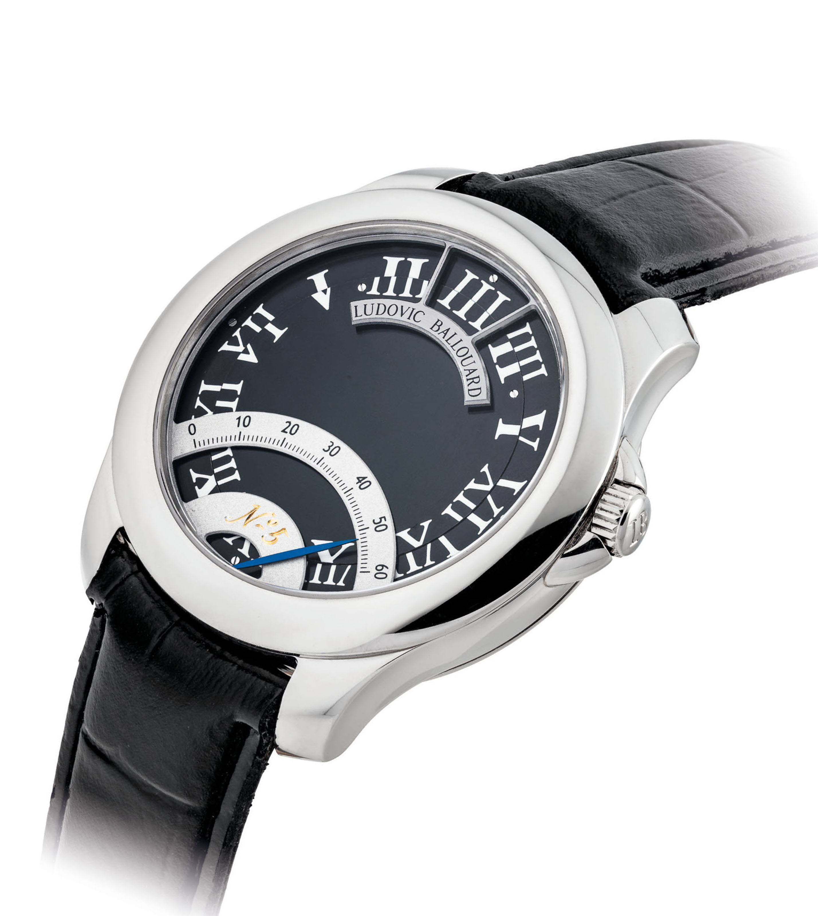 LUDOVIC BALLOUARD. A VERY FINE AND UNUSUAL PLATINUM WRISTWATCH WITH ROTATING DIAL AND RETROGRADE MINUTES