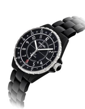 CHANEL A BLACK CERAMIC AND STAINLESS STEEL AUTOMATIC DUAL TI
