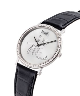 PIAGET AN UNUSUAL AND THIN 18K WHITE GOLD AND DIAMOND-SET WR