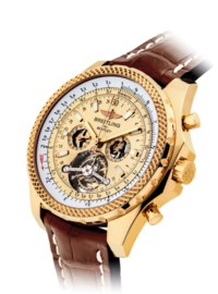 BREITLING. A FINE 18K GOLD TOURBILLON CHRONOGRAPH WRISTWATCH WITH DATE