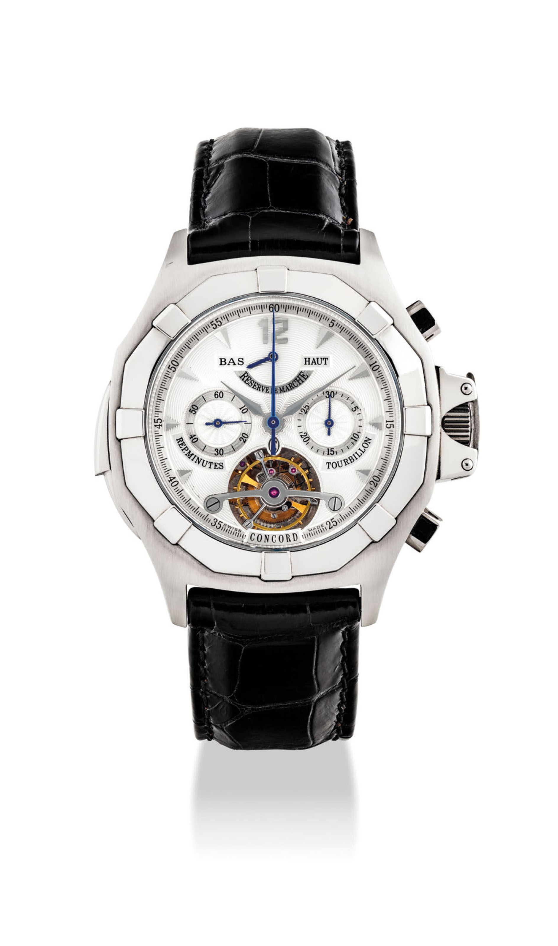 CONCORD. A UNIQUE AND EXTREMELY FINE PLATINUM OCTAGONAL MINUTE REPEATING TOURBILLON CHRONOGRAPH WRISTWATCH WITH POWER RESERVE