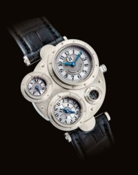 VIANNEY HALTER. A RARE AND UNUSUAL 18K WHITE GOLD ASYMMETRICAL AUTOMATIC PERPETUAL CALENDAR WRISTWATCH