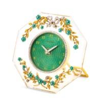ASPREY. A RARE AND FINE 18K GOLD, ENAMEL AND DIAMOND-SET HEXAGONAL STRUT CLOCK WITH ENAMEL DIAL
