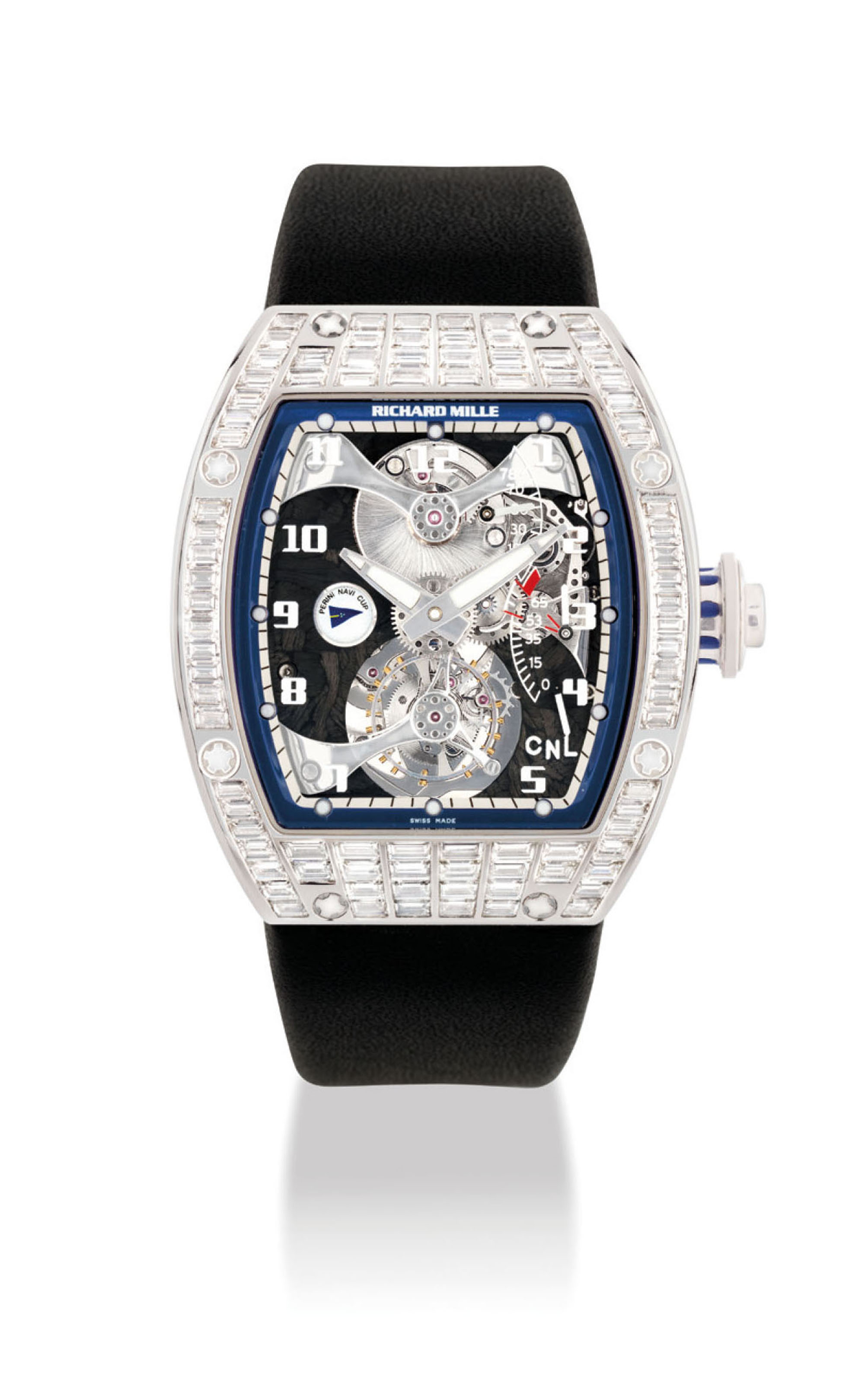 RICHARD MILLE. AN EXTREMELY RARE AND FINE PLATINUM AND BAGUETTE-CUT DIAMOND-SET TOURBILLON WRISTWATCH WITH TORQUE INDICATOR AND POWER RESERVE