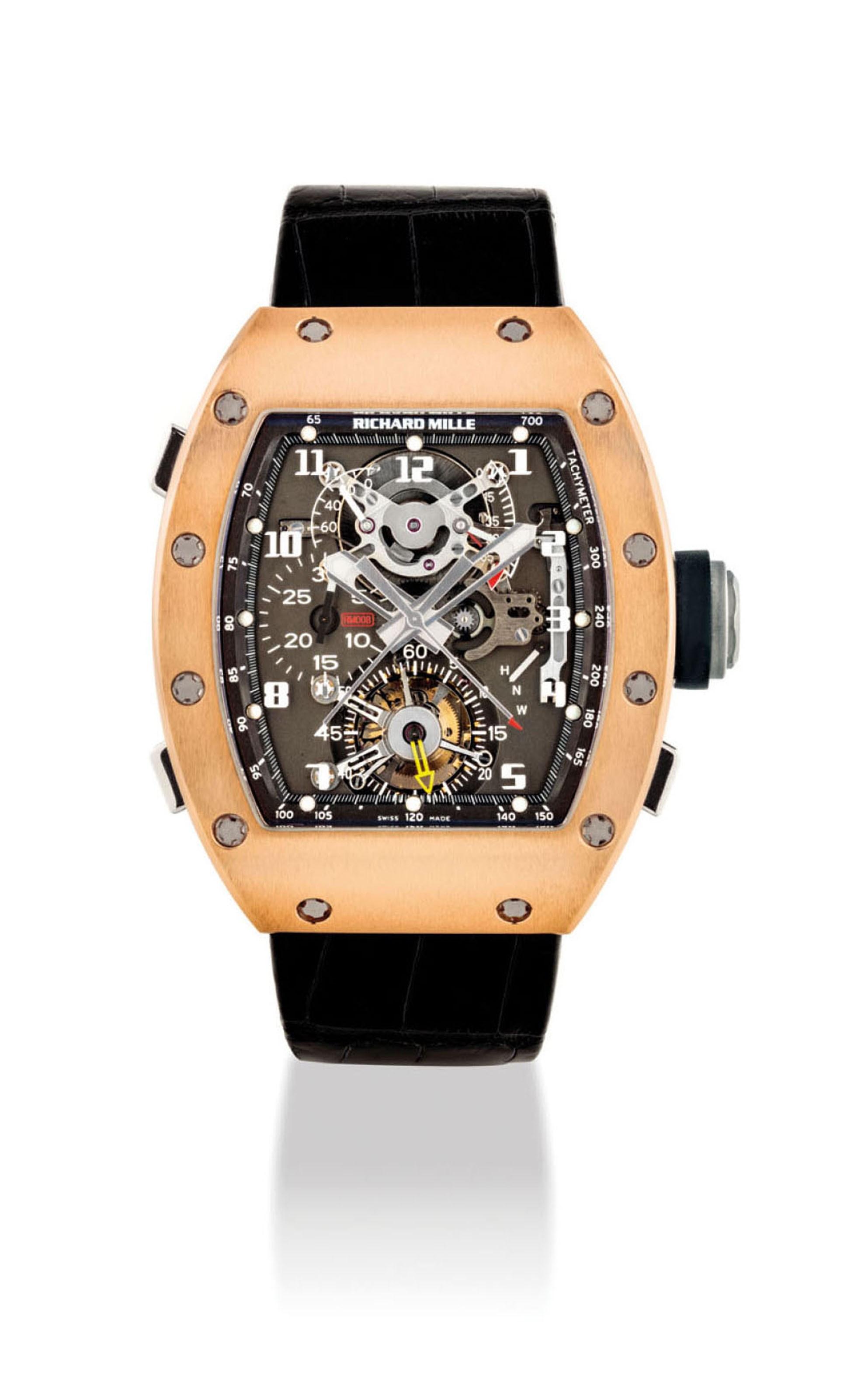 Richard Mille,18K红金酒桶形腕表,配追针计时功能、陀飞轮、动力储存及扭力显示,编号 1,型号RM008 AE PG,约2008 年制。2018年5月28日于佳士得香港售出,成交价3,940,000港元