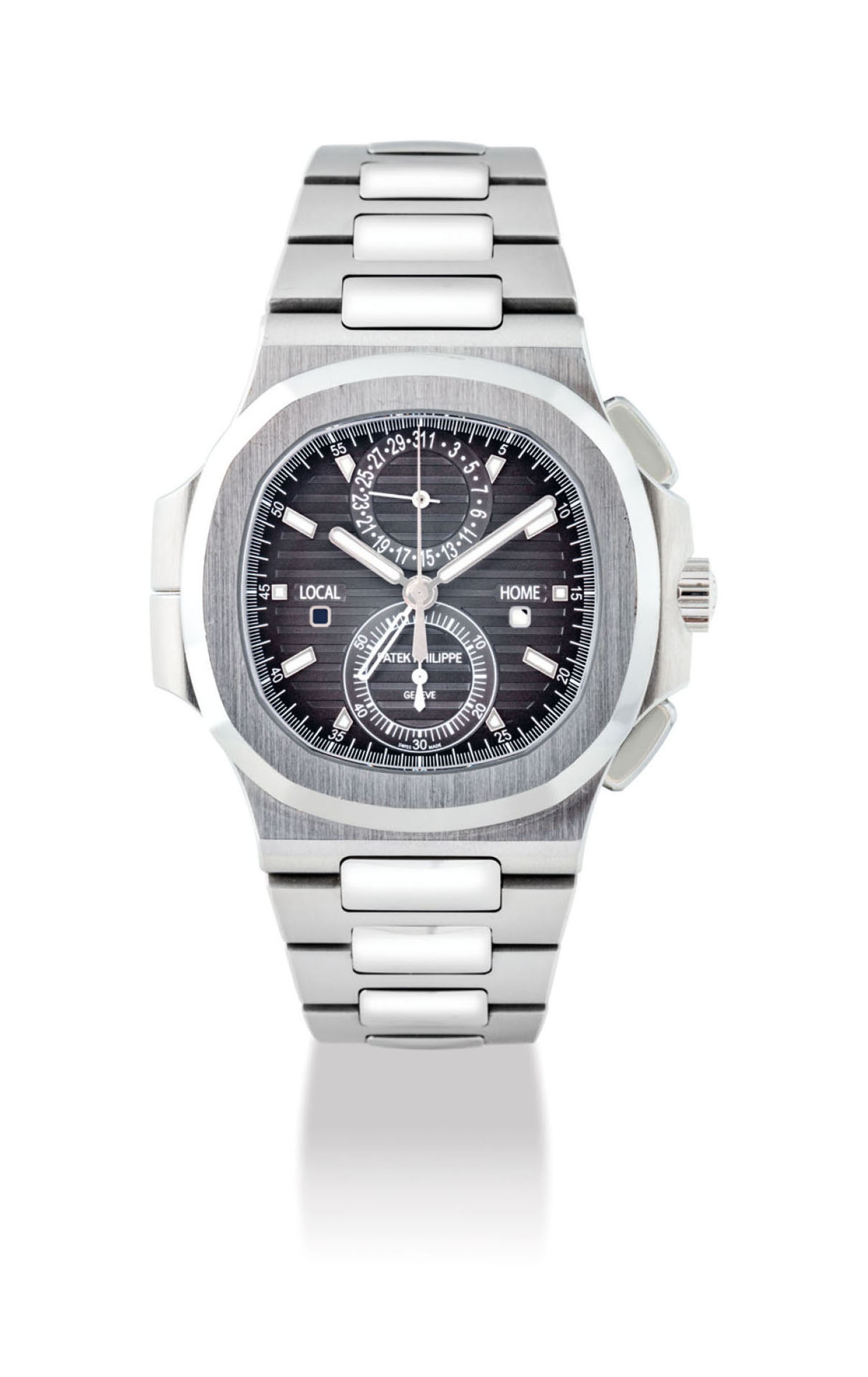 Patek philippe a fine stainless steel automatic chronograph dual time wristwatch with date and for Patek philippe geneve