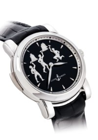 ULYSSE NARDIN. A FINE AND VERY RARE PLATINUM LIMITED EDITION MINUTE REPEATING WRISTWATCH WITH THREE AUTOMATON JACQUEMARTS SCENE AND ONYX DIAL