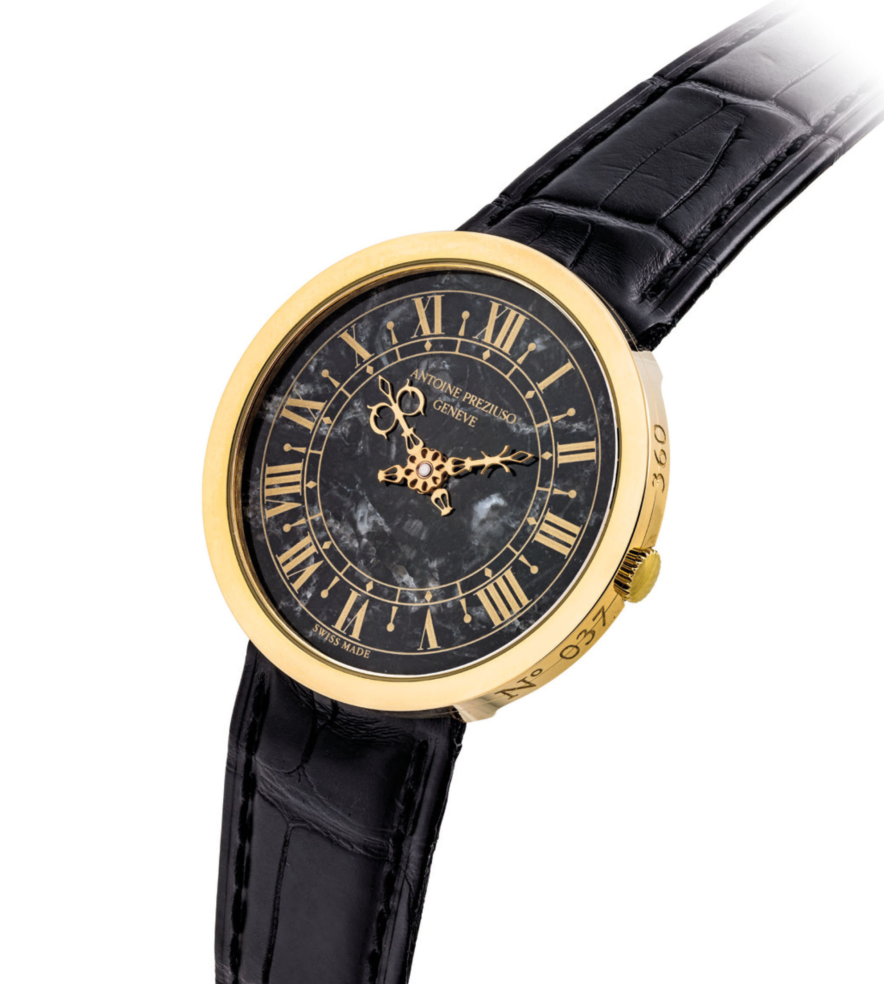 ANTOINE PREZIUSO. A FINE 18K GOLD LIMITED EDITION AUTOMATIC WRISTWATCH WITH BLACK MARBLE DIAL