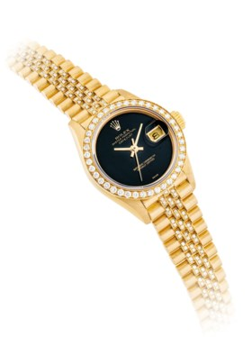 ROLEX A LADY'S 18K GOLD AND DIAMOND-SET AUTOMATIC WRISTWATCH