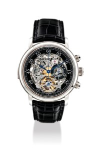AUDEMARS PIGUET. A VERY FINE AND EXTREMELY RARE 18K WHITE GOLD LIMITED EDITION SKELETONISED MINUTE REPEATING CHRONOGRAPH TOURBILLON WRISTWATCH