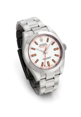 ROLEX. A STAINLESS STEEL AUTOMATIC WRISTWATCH WITH SWEEP CEN