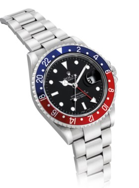 ROLEX. A STAINLESS STEEL AUTOMATIC DUAL TIME WRISTWATCH WITH