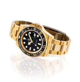 ROLEX. A FINE 18K GOLD AUTOMATIC DUAL TIME WRISTWATCH WITH S