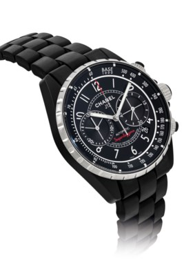 CHANEL. A BLACK CERAMIC AND STAINLESS STEEL AUTOMATIC CHRONO