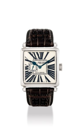 ROGER DUBUIS. A RARE 18K WHITE GOLD LIMITED EDITION SQUARE W