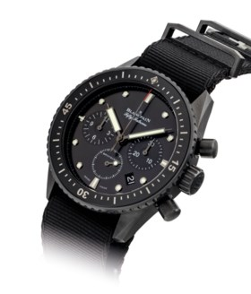 BLANCPAIN. A FINE BLACK CERAMIC AUTOMATIC FLYBACK CHRONOGRAP