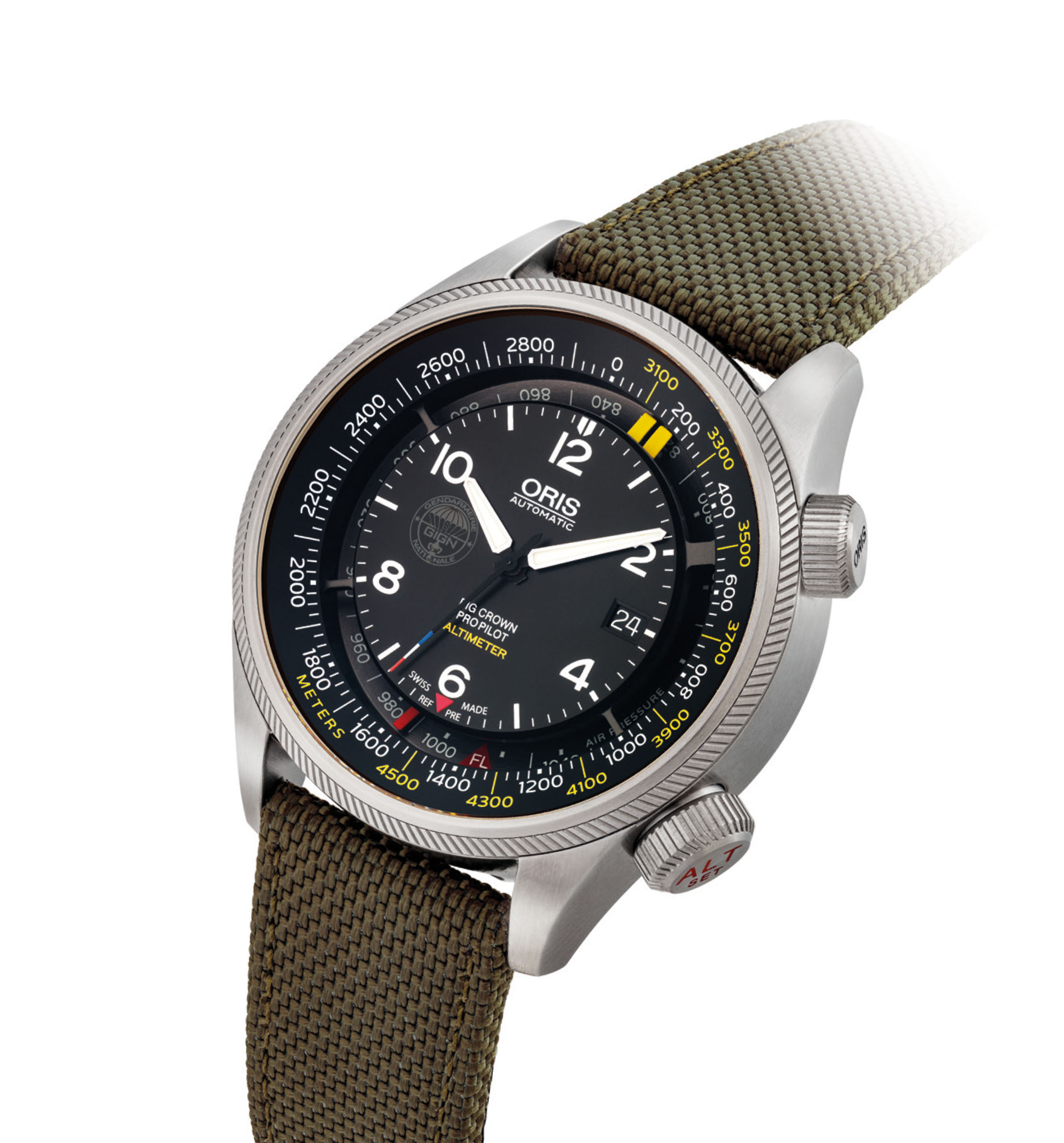 ORIS. A RARE AND UNUSUAL STAINLESS STEEL LIMITED EDITION AUTOMATIC WRISTWATCH WITH SWEEP CENTRE SECONDS, DATE AND ALTIMETER