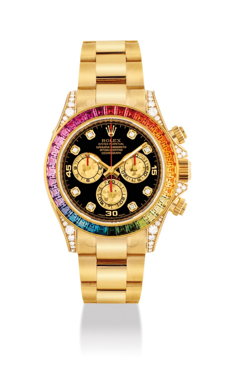 A very rare and impressive 18k gold and diamond-set automatic chronograph wristwatch with rainbow-coloured multi-gem set bezel and bracelet. Signed Rolex, Oyster perpetual, Cosmograph Daytona rainbow model, circa 2017. Price realised HK$1,812,500 on 26 November 2018 at Christie's in Hong Kong