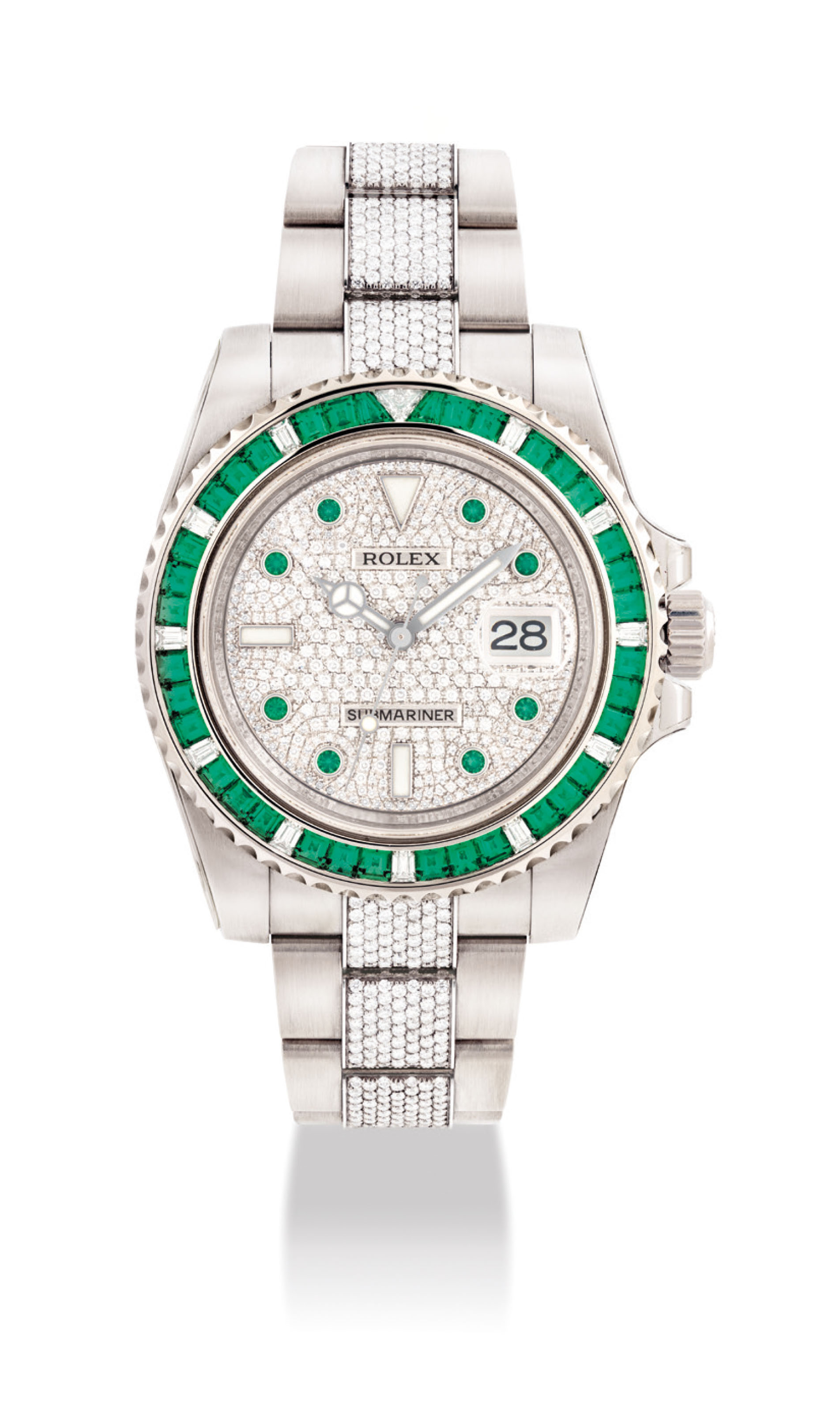 473c7c4c948 AN EXTREMELY RARE AND HIGHLY ATTRACTIVE 18K WHITE GOLD, EMERALD AND  DIAMOND-SET AUTOMATIC WRISTWATCH WITH SWEEP CENTRE SECONDS, DATE AND  BRACELET