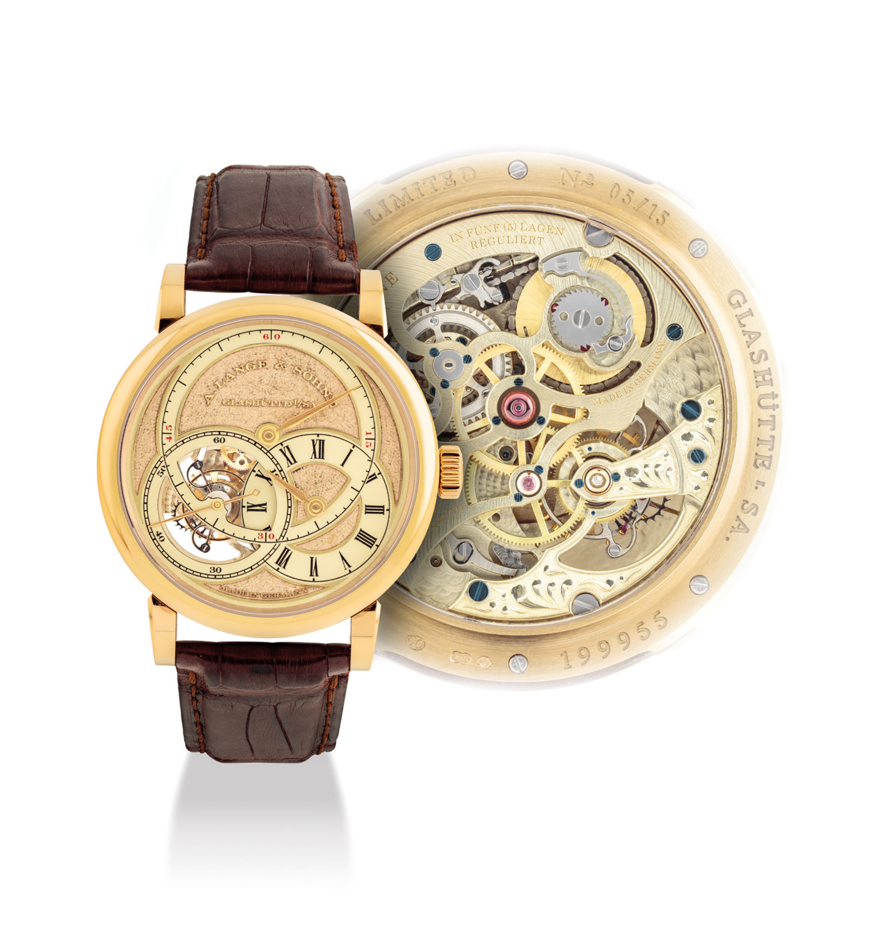 A. LANGE & SÖHNE. A VERY FINE AND EXTREMELY RARE 18K HONEY GOLD BOUTIQUE EXCLUSIVE LIMITED EDITION TOURBILLON WRISTWATCH WITH PATENTED STOP SECONDS MECHANISM, CHAIN FUSEE AND HAND ENGRAVED HONEY GOLD PIVOTING SEGMENT DIAL