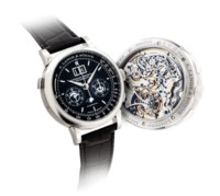 A. LANGE & SÖHNE. AN EXTREMELY FINE AND VERY RARE PLATINUM LIMITED EDITION WRISTWATCH WITH PERPETUAL CALENDAR, FLYBACK CHRONOGRAPH, TOURBILLON, DATE, POWER RESERVE, LEAP YEAR INDICATION AND MOON PHASES