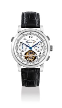A. LANGE & SÖHNE. AN EXTREMELY FINE, VERY RARE AND IMPRESSIVE PLATINUM LIMITED EDITION SPLIT SECONDS CHRONOGRAPH TOURBILLON WRISTWATCH WITH POWER RESERVE INDICATION AND CHAIN FUSÉE