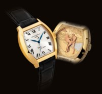 ANTOINE PREZIUSO. A FINE AND RARE 18K GOLD LIMITED EDITION TONNEAU-SHAPED WRISTWATCH WITH SWEEP CENTRE SECONDS AND CONCEALED EROTIC AUTOMATON