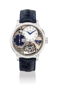 JAEGER-LECOULTRE. A VERY FINE, EXTREMELY RARE AND IMPRESSIVE 18K WHITE GOLD AND BAGUETTE-CUT DIAMOND-SET LIMITED EDITION SEMI-SKELETONISED SPHERICAL TOURBILLON WRISTWATCH WITH SINGLE BUTTON DIGITAL INSTANT CHRONOGRAPH, DAY/NIGHT INDICATOR AND AVENTURINE SUB-DIAL
