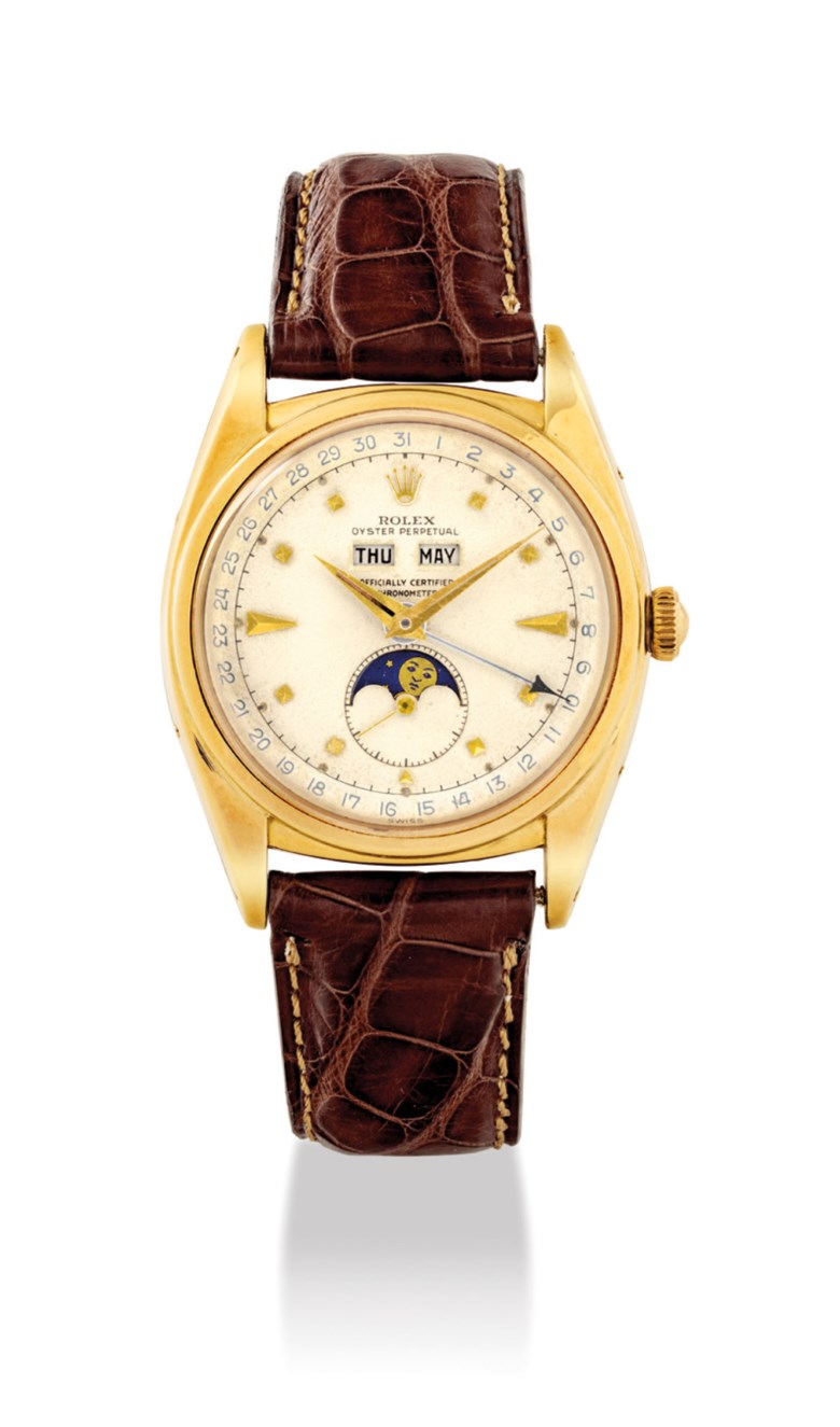 A very rare and attractive 18k gold automatic triple calendar wristwatch with moon phases and 'pyramid' dial. Signed Rolex, Oyster perpetual, officially certified chronometer, ref. 6062, case no.9252, circa 1953. Price realised HK$2,125,000 on 26 November 2018 at Christie's in Hong Kong