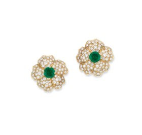 A PAIR OF EMERALD AND DIAMOND EARRINGS, BY CARTIER