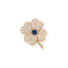 A SAPPHIRE AND DIAMOND BROOCH, BY VAN CLEEF & ARPELS