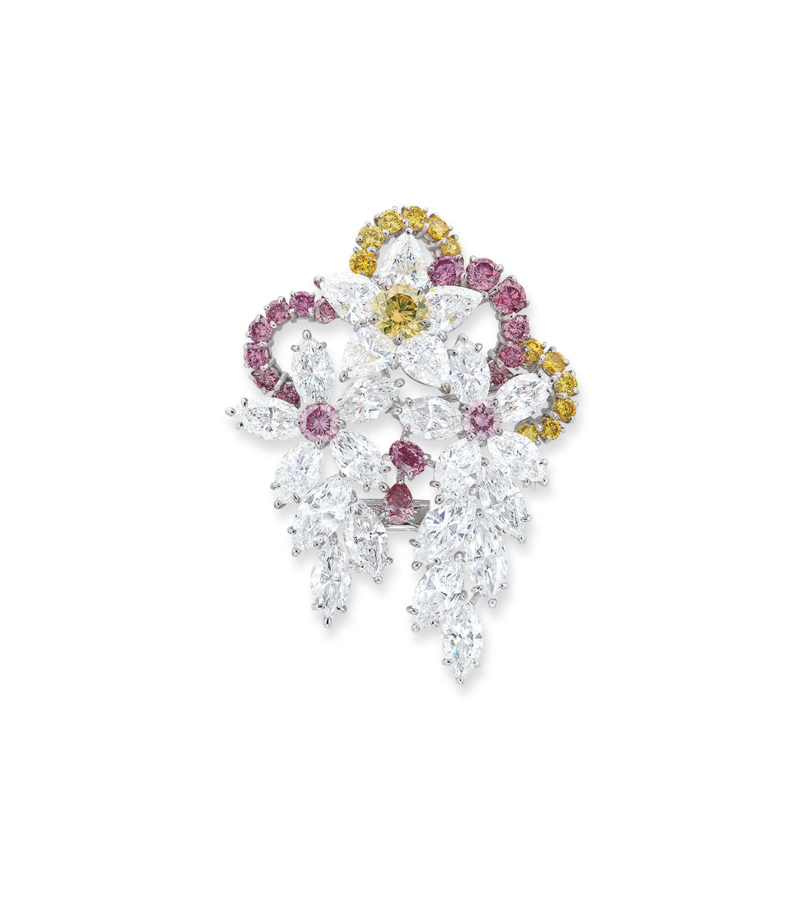 AN IMPORTANT COLOURED DIAMOND AND DIAMOND BROOCH/PENDANT