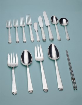 SILVER FLATWARE SERVICE, RETAILED BY CARTIER;   SIX PAIRS OF