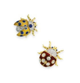 TWO DIAMOND, SAPPHIRE AND ENAMEL BROOCHES, TIFFANY & CO.