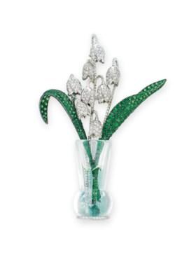 DIAMOND, GARNET AND CRYSTAL BROOCH, MICHELE DELLA VALLE