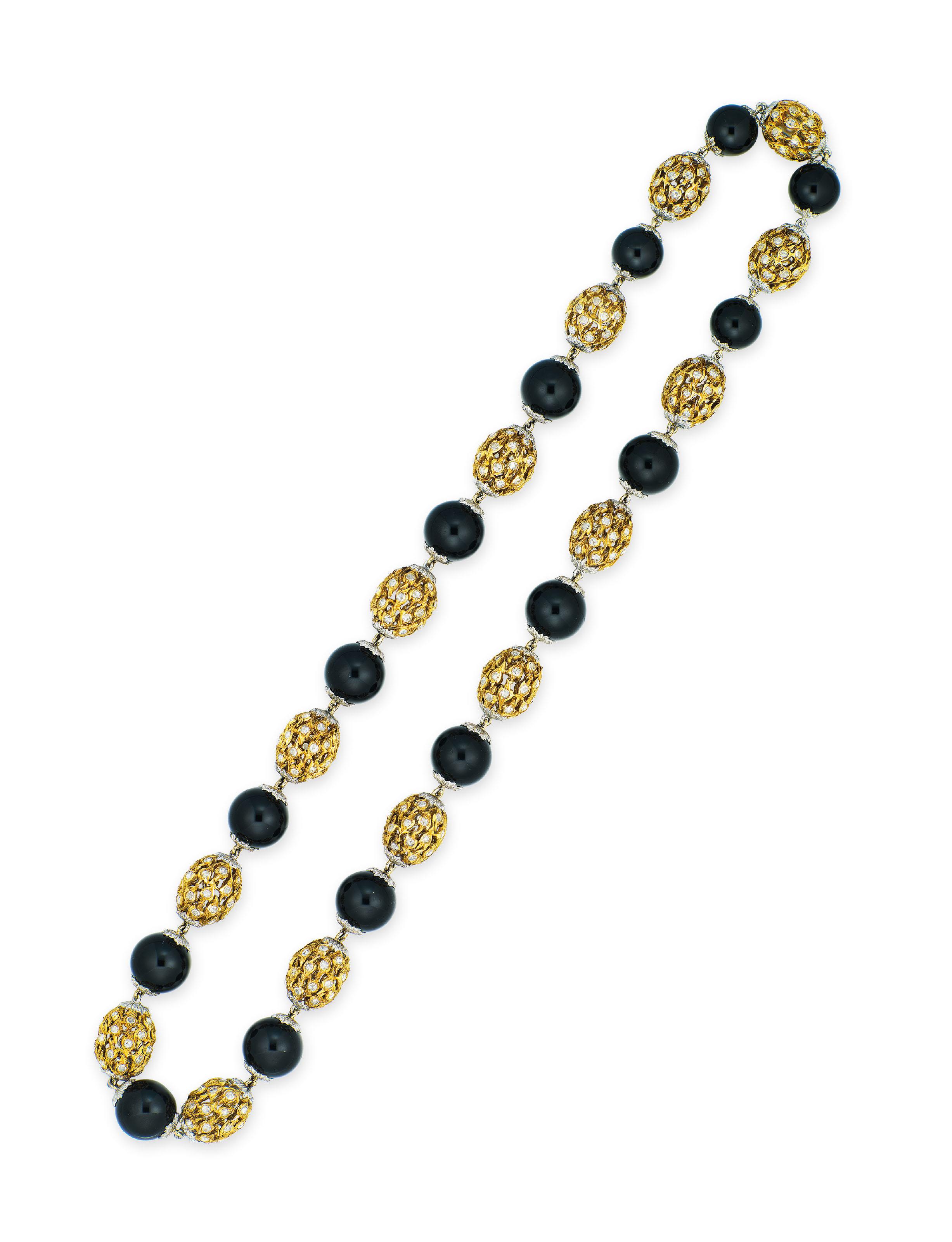 BLACK JADEITE BEAD AND DIAMOND NECKLACE, BUCCELLATI