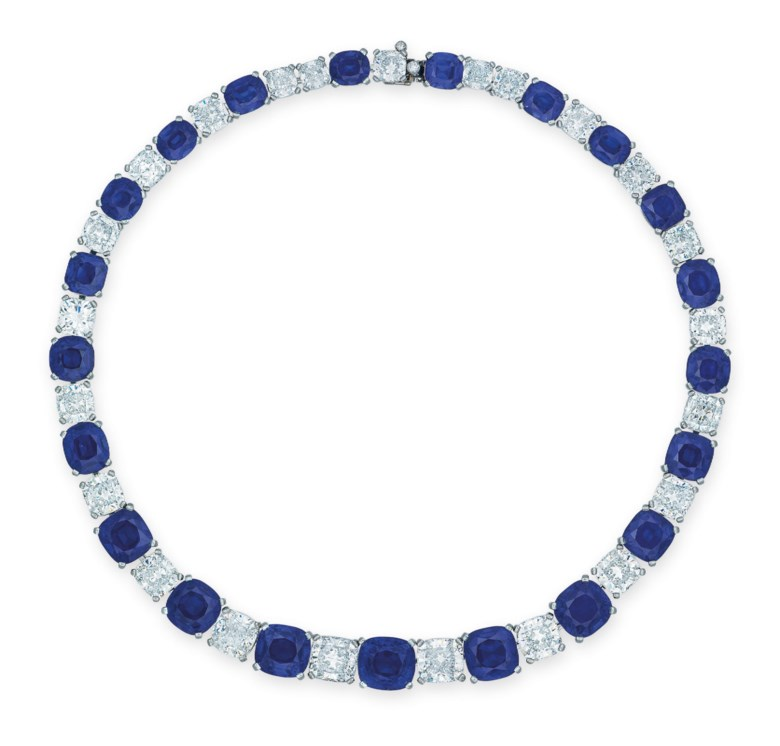 A superb sapphire and diamond necklace. Sold for HK$116,537,500 on 27 November 2018 at Christie's in Hong Kong