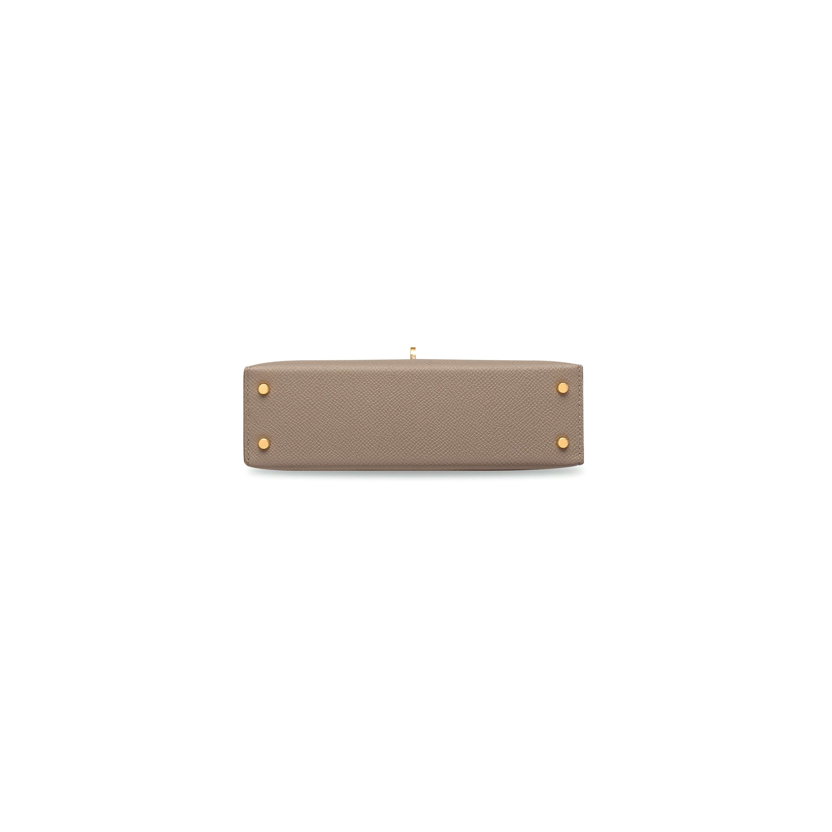 43ba9373d9d4 A GRIS ASPHALTE EPSOM LEATHER MINI KELLY 20 II WITH GOLD HARDWARE ...