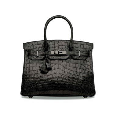 A rare, matte black niloticus crocodile So Black Birkin 30 with black hardware, Hermès, 2010. 30 w x 22 h x 15 d cm. Estimate HK$400,000-500,000. Offered in Handbags & Accessories  on 30 May at Christie's in Hong Kong Crocodile meets the So Black series in this elegant beauty — rarity, squared.       .captiondesc { font-family LyonRegular, Arial, Helvetica,