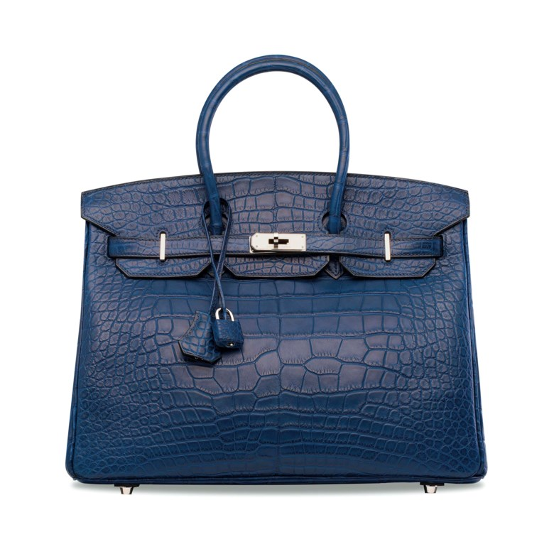 A matte Bleu de Malte alligator Birkin 35 with palladium hardware, Hermès, 2010. 35 w x 25 h x 18 d cm. Sold for HK$325,000 on 30 May 2018 at Christie's in Hong Kong
